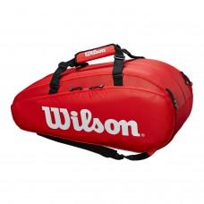 ΣΑΚΟΣ ΤΕΝΝΙΣ WILSON TOUR 2 COMPARTMENT 9 PACK LARGE TENNIS BAG RED