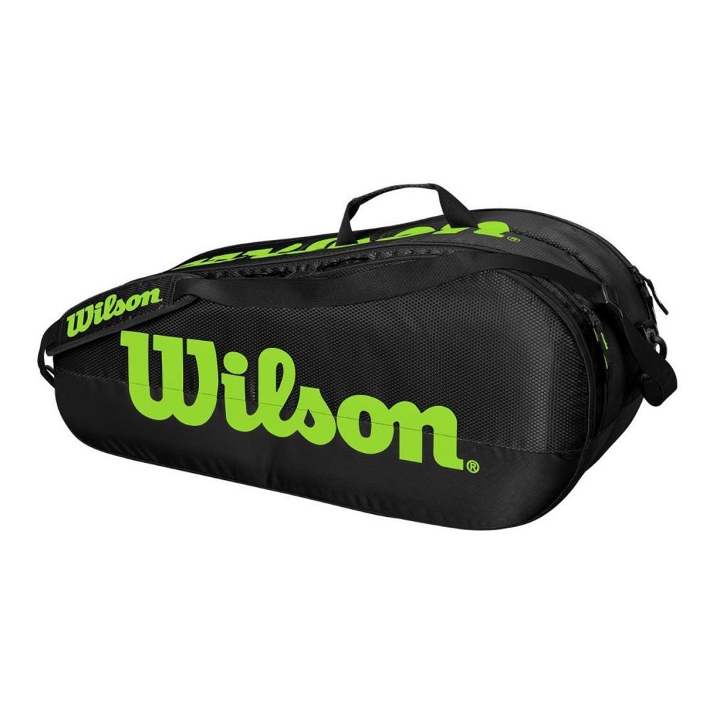 ΣΑΚΟΣ ΤΕΝΝΙΣ WILSON TEAM 2 COMPARTMENTS 6 PACK TENNIS BAG BLACK-GREEN