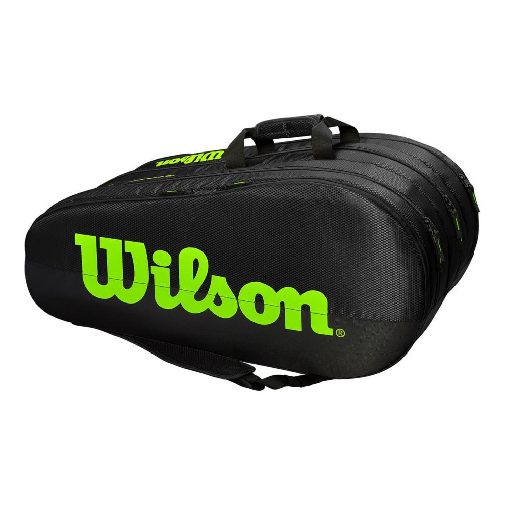 ΣΑΚΟΣ ΤΕΝΝΙΣ WILSON TEAM 3 COMPARTMENTS 12 PACK TENNIS BAG BLACK-GREEN